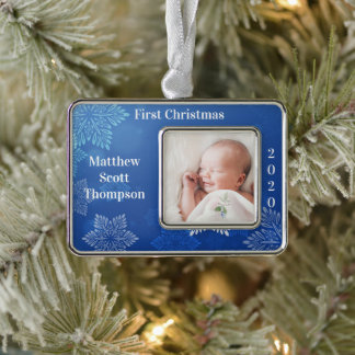Baby Boy's First Christmas Photo Year Blue Christmas Ornament