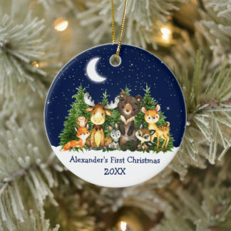 Baby First Christmas Forest Animals Blue Round Ceramic Ornament