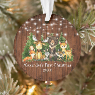 Baby First Christmas Forest Animals Lights Rustic Ornament