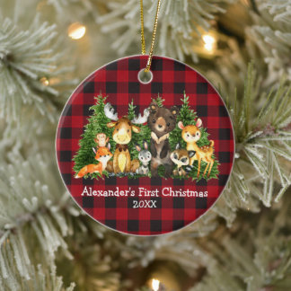 Baby First Christmas Forest Animals Plaid Round Ceramic Ornament