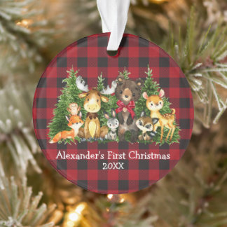 Baby First Christmas Forest Animals Red Bow Plaid Ornament