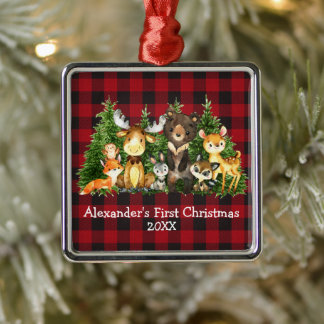 Baby First Christmas Forest Animals Red Plaid Metal Ornament