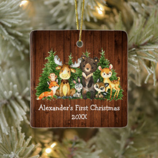 Baby First Christmas Forest Animals Rustic Ceramic Ornament