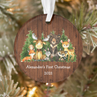 Baby First Christmas Forest Animals Rustic Ornament
