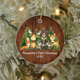 Baby First Christmas Forest Animals Rustic Round Ceramic Ornament