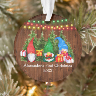 Baby First Christmas Gnomes Lights Rustic Ornament