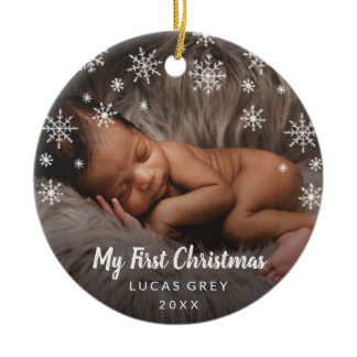 Baby First Christmas Photo Snowflakes Ceramic Ornament
