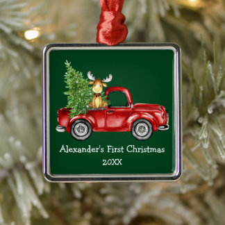 Baby First Christmas Red Truck Moose Green Metal Ornament