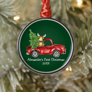 Baby First Christmas Red Truck Moose Green Round Metal Ornament