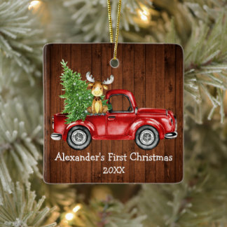 Baby First Christmas Red Truck Moose Rustic Ceramic Ornament