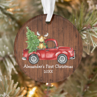 Baby First Christmas Red Truck Moose Rustic Ornament
