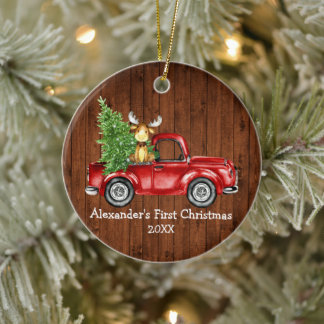 Baby First Christmas Red Truck Moose Rustic Round Ceramic Ornament