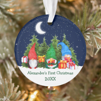 Baby First Christmas Watercolor Gnomes Trees Ornament