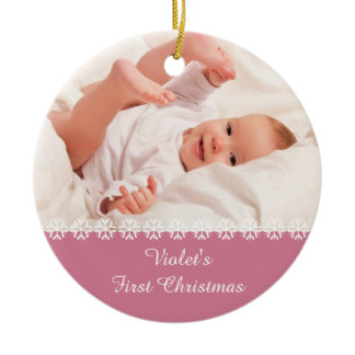 Baby Girls First Christmas w. Photo & Stats - Pink Ceramic Ornament