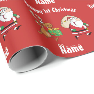 BABY Happy 1st Christmas Personalised Funny Wrapping Paper