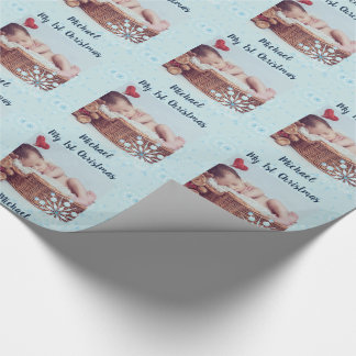 Baby PHOTO GiftWrap - 1st Christmas Snowflakes Wrapping Paper