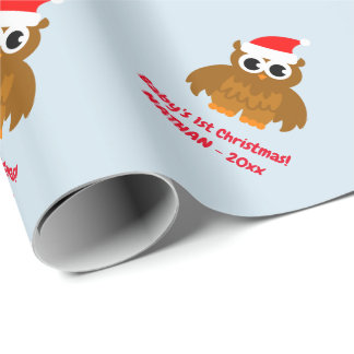 Baby's 1st Christmas cute owl custom Holiday Wrapping Paper