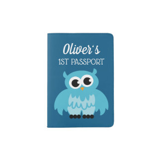 Baby's 1st passport holder for boys with cute owl