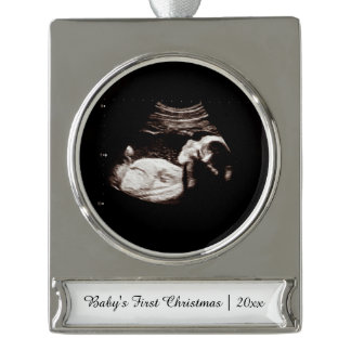 Babys First Christmas Pregnancy Ultrasound Photo Silver Plated Banner Ornament
