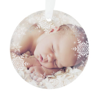 Baby's First Christmas White Silver Snowflakes Ornament