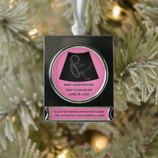 Baby's First Sonogram - Customizable Silver Plated Banner Ornament