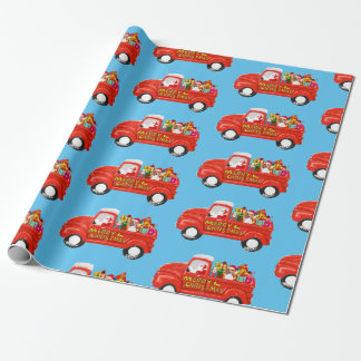 Beagle Dog in Christmas Delivery Truck Wrapping Paper