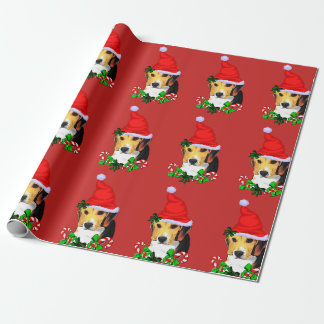 Beagle in Santa Hat Christmas Wrapping Paper