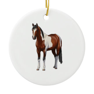 Beautiful Brown Bay Pinto Paint Horse Lover Gift P Ceramic Ornament