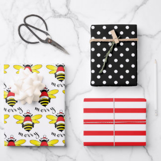 Bee Merry Christmas Monkey Wrapping Paper Sheets