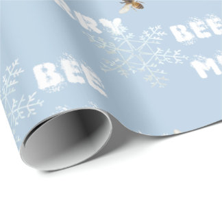 Bee Merry Dreamy Snowflakes Wrapping Paper