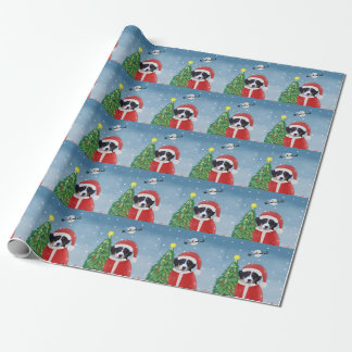 Bernese Mountain Dog in Snow with Christmas Gifts  Wrapping Paper