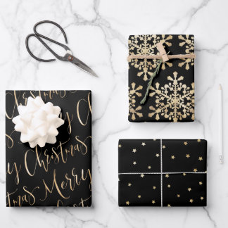 Black And Gold Merry Christmas Snowflakes Set Wrapping Paper Sheets