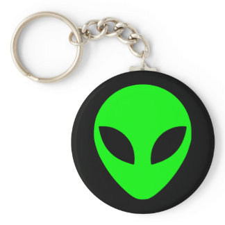 Black and Lime Green Alien Head Keychain