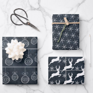 Black and White Chalkboard Wrapping Paper Sheets