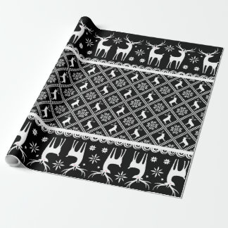 Black and White Deers Elks Festive Christmas Gift Wrapping Paper