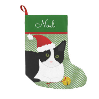 Black And White Santa Cat Personalized Small Christmas Stocking