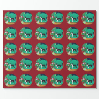 Black Boston Terrier and Santa's Gift Wrapping Paper