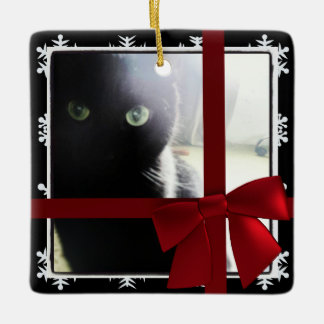Black Cat First Christmas Pet Photo Frame Red Bow Ceramic Ornament