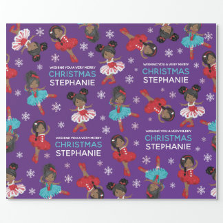 Black Christmas Ballerina Wrapping Paper