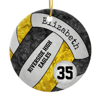 black gold girly volleyball team colors ceramic ornament
