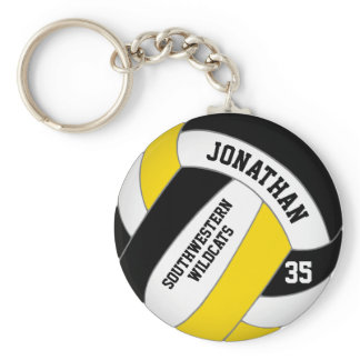 black gold team name boys' volleyball keychain