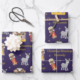Black Nativity Scene Wrapping Paper Sheets