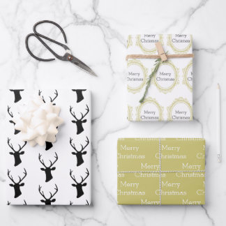 Black Reindeer Head with Gold Ornate Frame Wrapping Paper Sheets