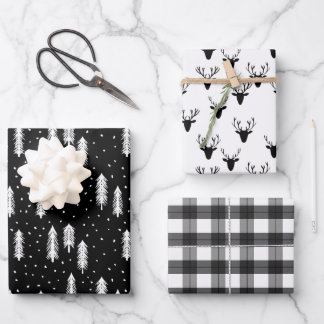 Black Rustic Holiday Patterns Woods Trees Plaid Wrapping Paper Sheets