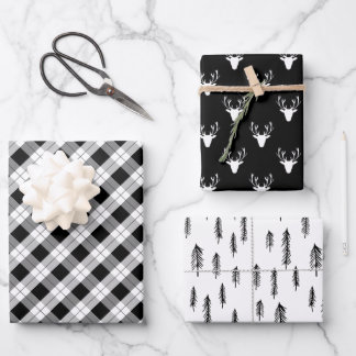 Black White Mixed Rustic Patterns Deer Woods Plaid Wrapping Paper Sheets