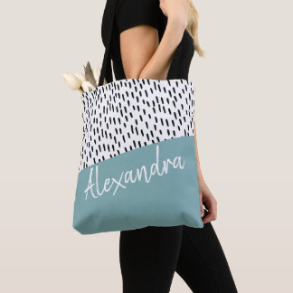 Black White Teal Green Modern Personalized Tote Bag