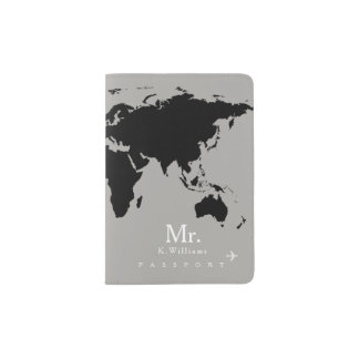 black world map on gray with Mr. name Passport Holder