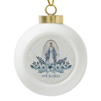 Blessed Virgin Mary Blue Flowers Lace Ceramic Ball Christmas Ornament