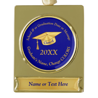 Blue and Gold Personalized Graduation Ornaments