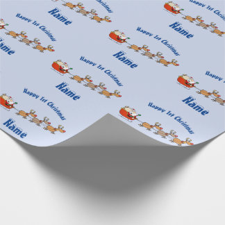 BLUE Babys 1st Christmas Giftwrap Personalised Wrapping Paper